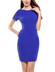 Buy Supercart New Women Casual O Neck Short Sleeve Solid Business Bodycon Elastic Pencil Dress With Pockets Blue Intl Cheap On China