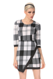 Supercart Office Lady Women Slim Patchwork Plaid Pencil Dresses O Neck 3 4 Sleeve High Waist White Black Sale