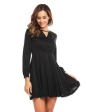 Supercart Stylish For Ladies Long Sleeve Keyhole Solid Casual Party Pleated Dress Black Intl Best Price
