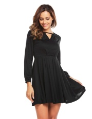 Buy Supercart Stylish For Ladies Long Sleeve Keyhole Solid Casual Party Pleated Dress Black Intl Not Specified Cheap