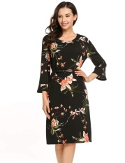 Promo Supercart Women 3 4 Flare Sleeve Floral Knee Shift Dress Loose Casual With Belt Black Intl
