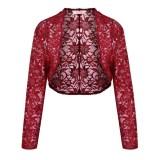 Who Sells Supercart Women 3 4 Sleeve Lace Crop Shrug Cardigan Short Shawl Wrap Coat Chili Red Intl Cheap