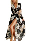 Low Cost Supercart Women Casual Front Cross V Neck Long Sleeve Floral Maxi Dress Black Intl