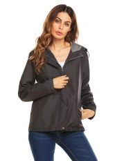 Retail Supercart Women Long Sleeve Hooded Waterproof Windbreak Solid Loose Outwear Jacket Grey Intl