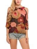 Retail Supercart Women O Neck Long Sleeve Cold The Shoulder Elastic Cuffs And Hem Prints Chiffon Shirt Red Intl