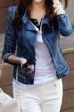 Price Supercart Women S Punk Lapel Zipper Denim Jean Coat Jacket Slim Outerwear Blue Export Oem
