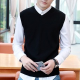 Sweater Men 100 Cotton Solid V Neck Casual Male Sweater Vest Men Pullover Knitted Sleeveless Men Sweater M 3Xl Black Intl Shopping