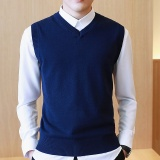 Sweater Men 100 Cotton Solid V Neck Casual Male Sweater Vest Men Pullover Knitted Sleeveless Men Sweater M 3Xl Dark Blue Intl Compare Prices