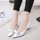 Best Rated The Sweet Spring Bow Semi High Heeled Pumps White