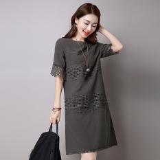 Women S Korean Style Lace Hallow Out Dress Milky White Gray Gray Gray On China
