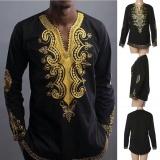 Coupon T Shirt African Tribal Men Succinct Hippie Top Blouse Black Tee Intl