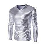 How To Buy T Shirt Men S New Hot Gold Foil Long Sleeved T Shirt Silver Intl