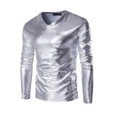 T Shirt Men S New Hot Gold Foil Long Sleeved T Shirt Silver Intl Lower Price