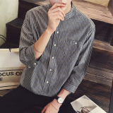 New Loose Korean Slim Fit Striped Men 3 4 Sleeve Shirts Short Sleeved Shirts Gray Gray