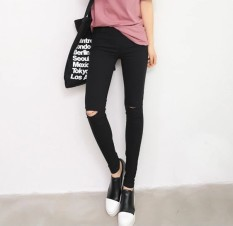 Review Women S Thin Ripped Elastic Waist Cropped Skinny Pants Black Black Knee Hole Oem On China