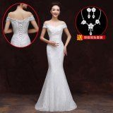 Women S Off Shoulder Evening Dress Red White Qi Word Shoulder Fishtail White Qi Word Shoulder Fishtail Lower Price