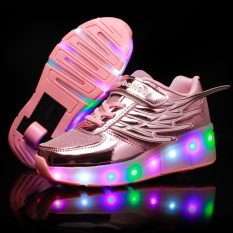 Wholesale The New Roller Shoes Children Heelys Skates Led Luminous Wheel Pulley Shoe Laces Single Wheel With Light Pink Mesh Intl
