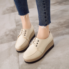 Sale College Style Student Thick Bottomed Round Platform Shoes Women S Shoes Beige Oem