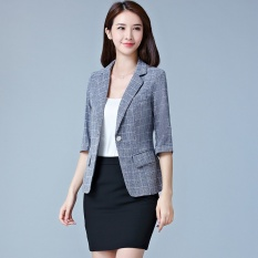 Price Comparison For Thin Plaid Blue Grey Women Blazers Suit Coats Office Wear Three Quarter Sleeves Single Button Female Jacket Coats Slim Casual For Ol Blazers Intl