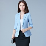 Price Thin Plaid Bright Blue Women Blazers Suit Coats Office Wear Three Quarter Sleeves Single Button Female Jacket Coats Slim Casual For Ol Blazers Intl China