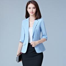 Sale Thin Plaid Bright Blue Women Blazers Suit Coats Office Wear Three Quarter Sleeves Single Button Female Jacket Coats Slim Casual For Ol Blazers Intl Oem Branded
