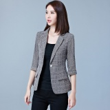 Thin Plaid Gray Women Blazers Suit Coats Office Wear Three Quarter Sleeves Single Button Female Jacket Coats Slim Casual For Ol Blazers Intl Review