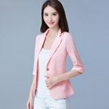 Thin Plaid Pink Women Blazers Suit Coats Office Wear Three Quarter Sleeves Single Button Female Jacket Coats Slim Casual For Ol Blazers Intl Best Buy