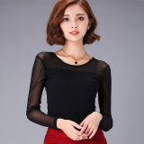 Sale S*xy Mesh Women S Long Sleeve Spring And Autumn Top Turtleneck Base Shirt Round Collar Black Oem