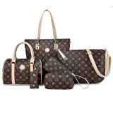 Price Women S European And American Style Printed 6 Piece Bags Deep Brown Deep Brown Other New