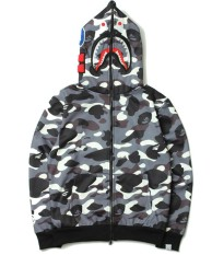 8187a2f7b6b4 Tide Bape Black White Stitching A Bathing Ape Camouflage Shark Hoodie  Cardigan Loose Coat - intl