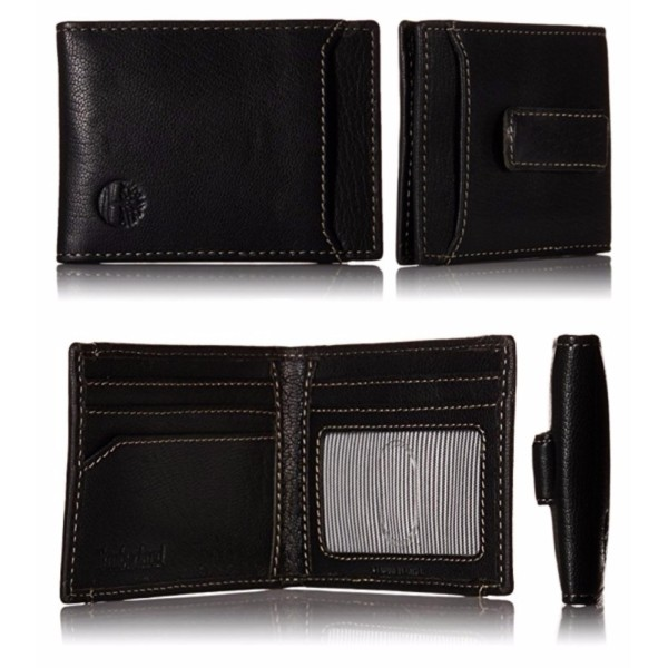 Timberland Mens Genuine Leather Money Clip Wallet Blix Flip Clip Black with Gift Box