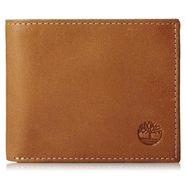 Timberland Mens Genuine Leather Wallet Cloudy Bifold Passcase Tan