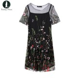 Review Today Plus Plus Size Two Piece Suit Women Summer Dress Floral Embroidery Vintage Mini Dress Mesh Patchwork Party Casual Vestidos Black Intl China