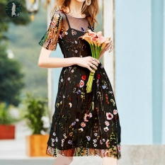 Lowest Price Today Plus Plus Size Two Piece Suit Women Summer Dress Floral Embroidery Vintage Mini Dress Mesh Patchwork Party Casual Vestidos Black Intl