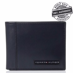 e62a00f549 Tommy Hilfiger Men's Cambridge Logo Leather Passcase Wallet with Faux  Leather Gift Box (Navy Blue