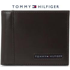 Tommy Hilfiger Mens Leather Cambridge Passcase Wallet with Removable Card Case gift box (brown)