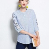Best Buy Top 2017 Summer Female Blouse Cotton Flower Embroidered Plus Size 3Xl 4Xl Floral Embroidery Women Striped Shirt Intl