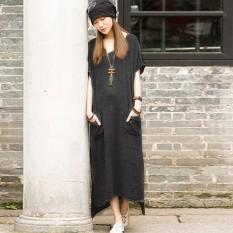 Price Comparisons Top Fashion Zanzea Summer Dresss Women Casual Cotton Linen Dress Split Asymmetrical Long Maxi Vestidos Plus Size S 5Xl Grey