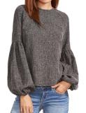 Sale Top Sale Women Lantern Sleeve Tops O Neck Long Sleeve Solid Casual Blouse Dark Grey Intl Singapore