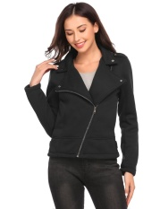 Where To Buy Top Sales Sunwonder Women S Stand Collar Zip Up Fleece Lined Slim Fit Moto Biker Jacket W Pocket Black Intl