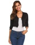 List Price Top Sales Sunwonder Women S V Neck Long Sleeve Button Down Slim Fit Cropped Knit Cardigan Black Intl Not Specified
