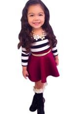 Best Buy Toprank Cute Kids Girls Children S Fancy Wear Clothing Set Long Sleeve Striped Top Wine Skirt Multicolor Intl