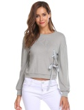 Sale Toprank New Women O Neck Long Sleeve Solid Loose Side Binding Fashion Sweatshirt Light Grey Intl China Cheap