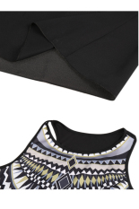 Price Compare Toprank Party Dresses Women Lady Style O Neck Patchwork Geometric Print Chiffon Maxi Long Sleeveless Dress Black