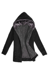 Purchase Toprank Winter Fashion Coat Women Hoodies Wool Fur Warm Casual Hoodies Long Sweatshirts Fleece Jacket Black