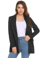 Sale Toprank Women Lapel Long Sleeve Open Front Solid Loose Fit Casual Ol Blazer Jacket Intl On China