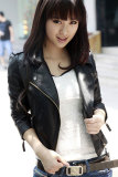 Cheapest Toprank Women Leather Jacket Motorcycle Pu V Neck Long Sleeve Coats Autumn Slim Zipper Outerwear Black Online