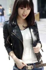 Retail Toprank Women Leather Jacket Motorcycle Pu V Neck Long Sleeve Coats Autumn Slim Zipper Outerwear Black