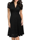 Toprank Women S*xy Deep V Neck Short Sleeve Lace Patchwork Vintage Style A Line Dress Black Intl Lower Price