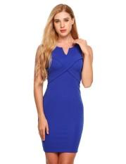 Best Deal Toprank Women Sleeveless Split V Neck Package Hip Mini Pencil Dress Ol Party Blue Intl